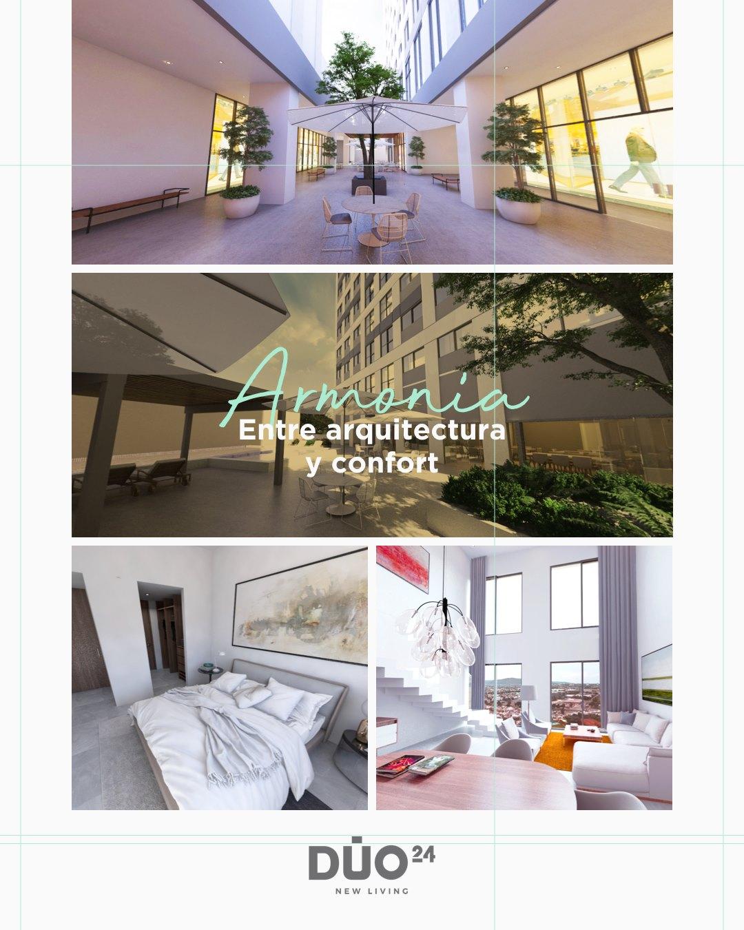 """Puede ser una imagen de texto que dice """"Armania Entre arquitectura confort bng DUO 24 NEW LIVING"""""""