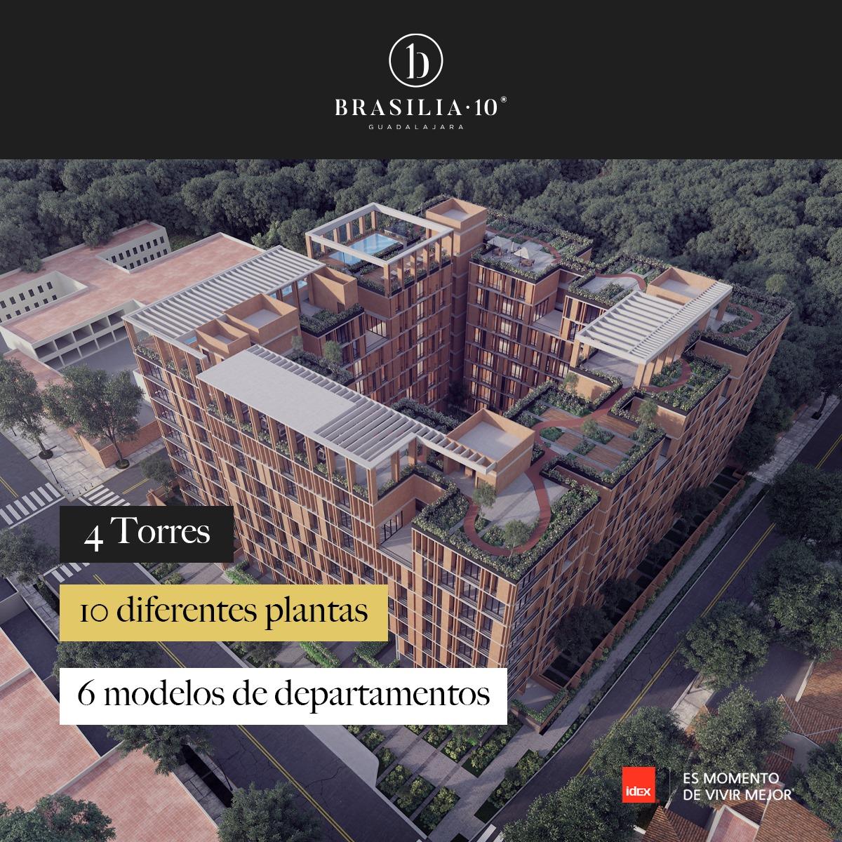 """Puede ser una imagen de texto que dice """"1 BRASILIA-10 UL ... Torres IO diferentes plantas 6 modelos de departamentos idex ES MOMENTO DE VIVIR MEJOR"""""""