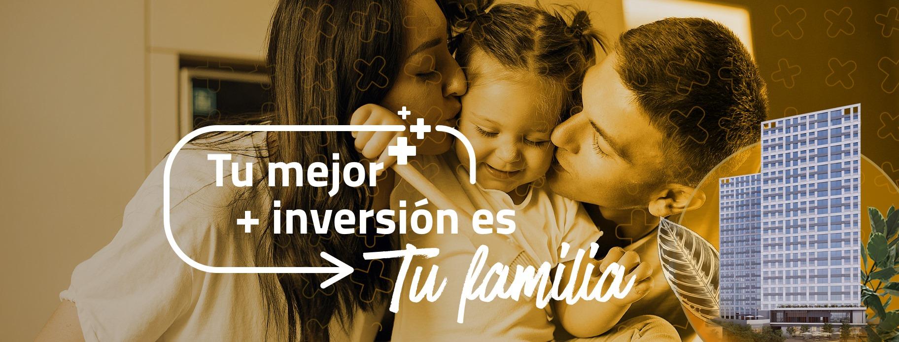 """Puede ser una imagen de niño(a) y texto que dice """"+ Tu mejor + inversión es Tu familia"""""""